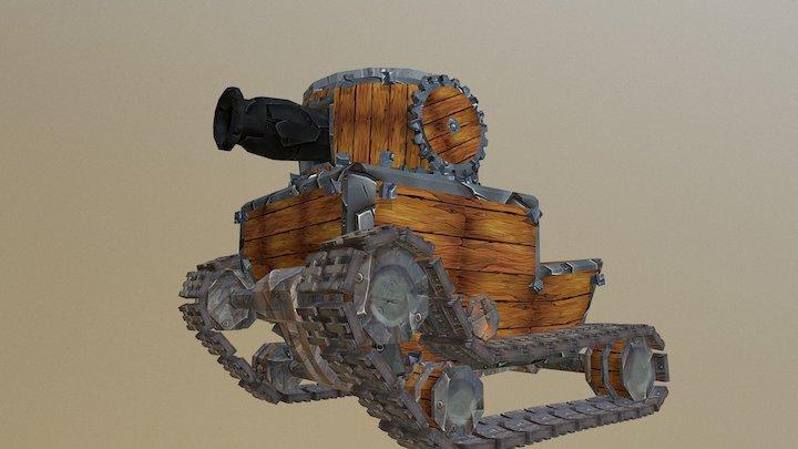 Cartoon Wood Tank 3D Model