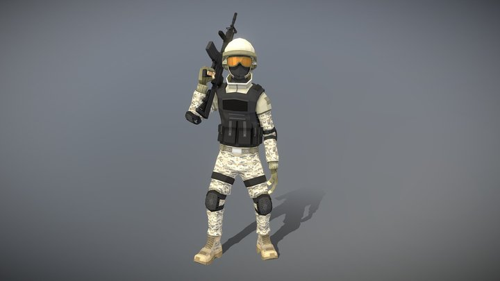 Low Poly Soldier 3D Model