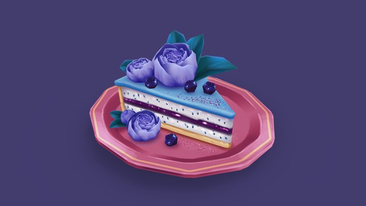 Blueberry Peony Cake 3D Model