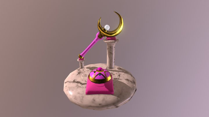 Sailor Moon Crescent Moon Wand And Compact 3D Model
