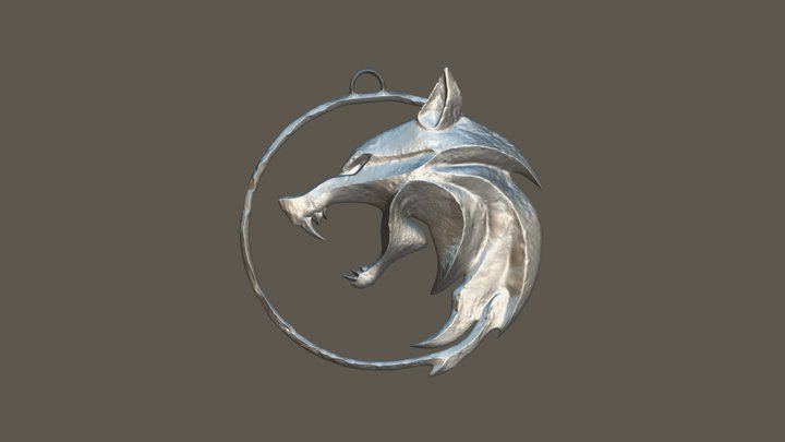 Witcher Wolf Medallion Netflix Low Poly 3D Model