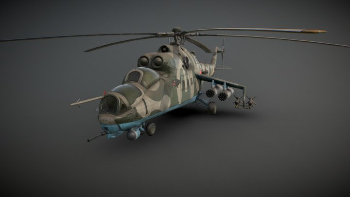 Hind Attack Helicopter 3D Model