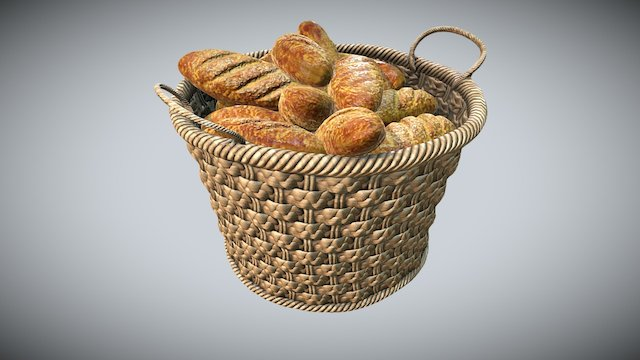 Bread in Basket 3D Model