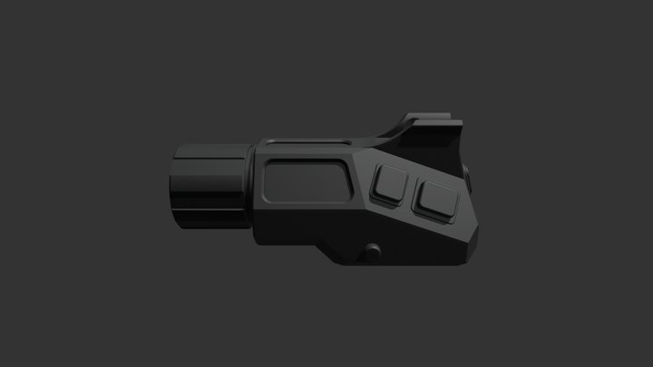 Flashlight with Front Sight 3D Model