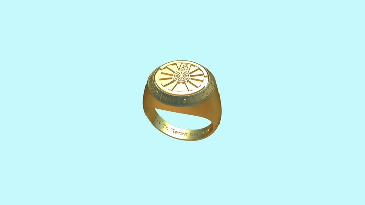 Round Table India signet ring - Karan Checker 3D Model