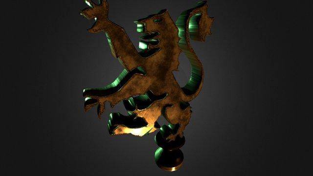 Rampant Lion hood ornament 3D Model