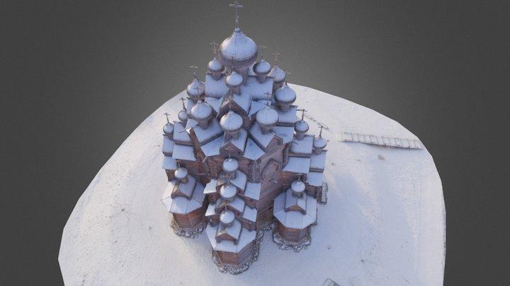 Example 3d model of a wooden church 3D Model