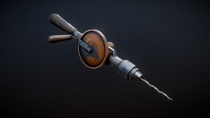 1928 hand drill - animation 3D Model