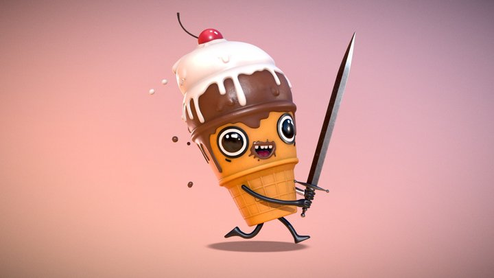Ice cream with a sword 3D Model