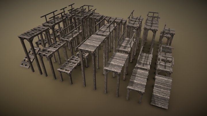 Wooden Bridge Pack 3D Model