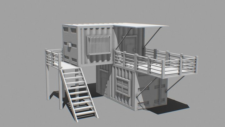 Untextured Shipping Container Building 3D Model