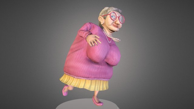 The wonderful grand'ma: rigged and textured 3D Model