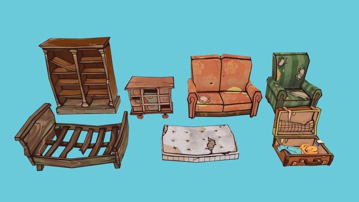 Flotsam props - furnitures 3D Model