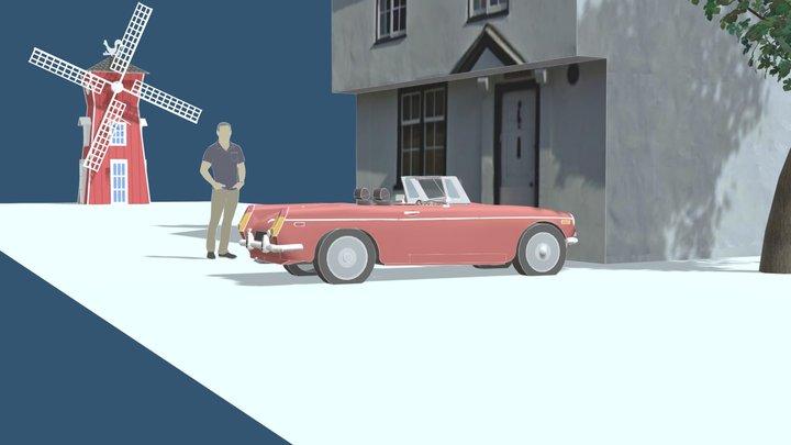 Pub Car Windmill Model 3D Model