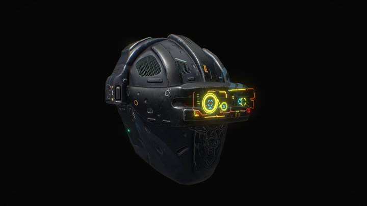 Low poly sci fi holo helmet character asset 3D Model