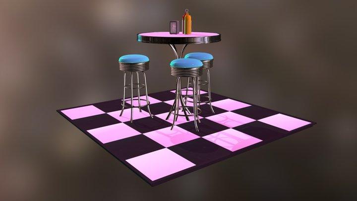 50s Diner Scene 3D Model