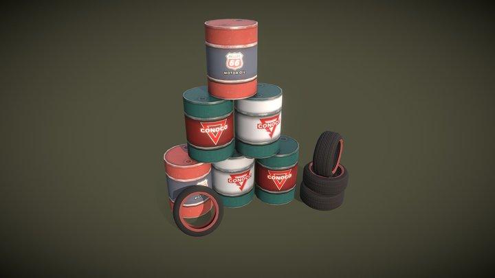 Barrels motor oil 3D Model