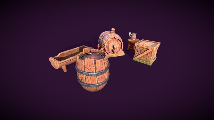 Stylized Game Assets 6 Pack 3D Model