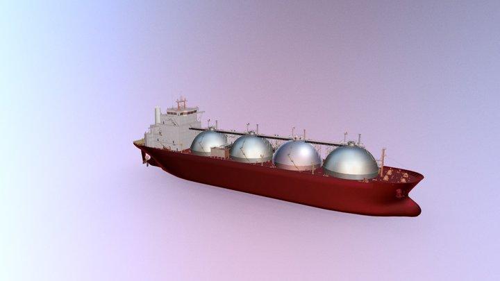 Gas Carrier Ship uten texture 3D Model