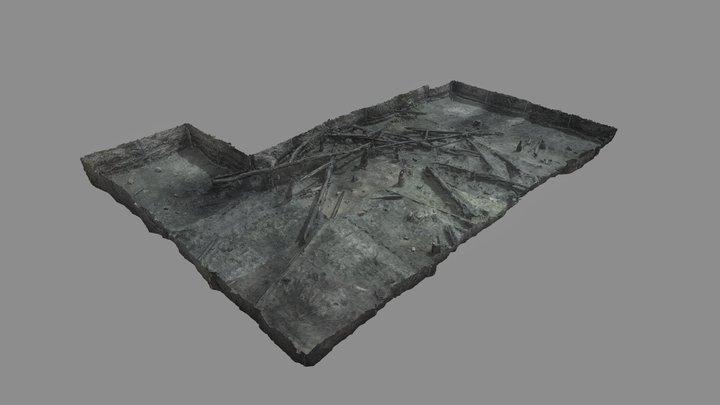 Ledniczka Island bridge. 2020 excavated area 3D Model
