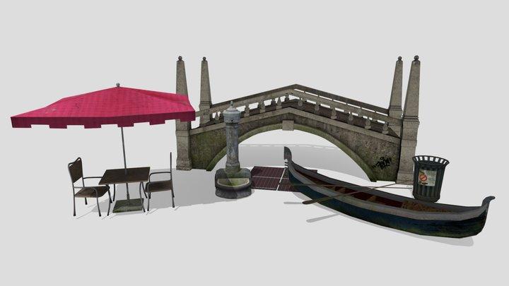 5 Venice Themed Props 3D Model
