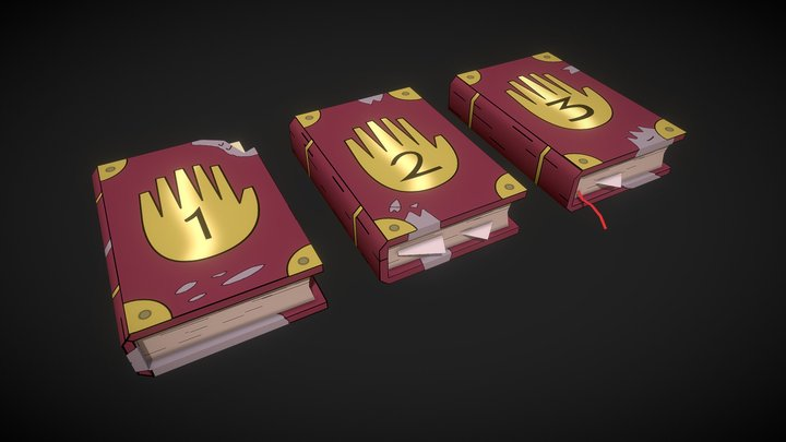 Journals #1 #2 and #3 (Gravity Falls) 3D Model