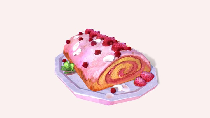 Strawberry Cream Roll 3D Model
