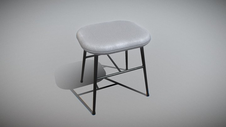 Spine metal base stool-fabric 3D Model
