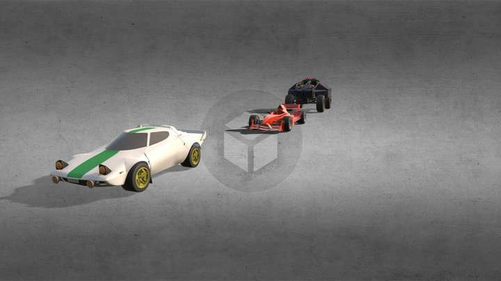 3 cars (Lancia stratos, A1 gp and armored car) 3D Model