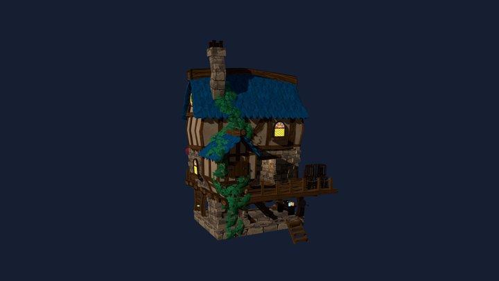Stylized Medieval Hunter Home 3D Model