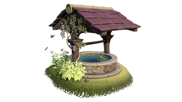 Hand Painted Fairytale Wishing Well 3D Model