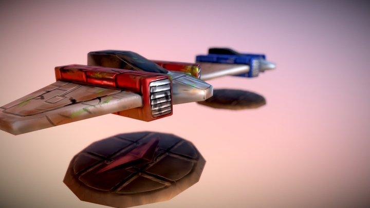 Cartoon Low Poly Spaceship 3D Model