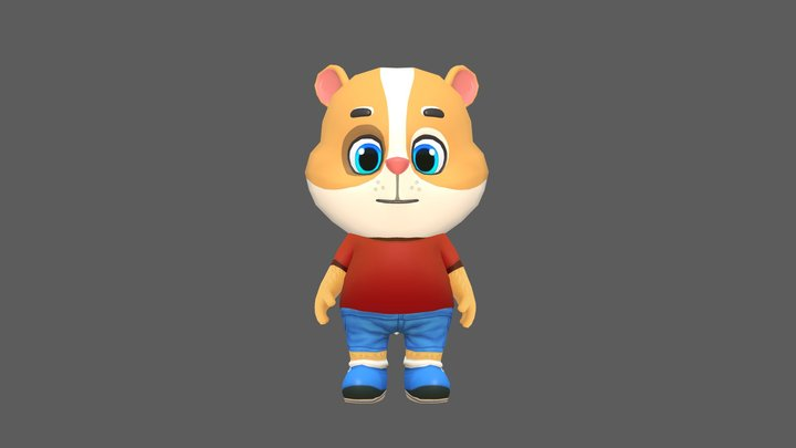 Hamster Guinea Pig Mouse Animated Rigged 3D Model