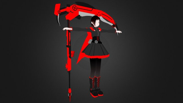 Ruby Rose and crescent rose from rwby 3D Model