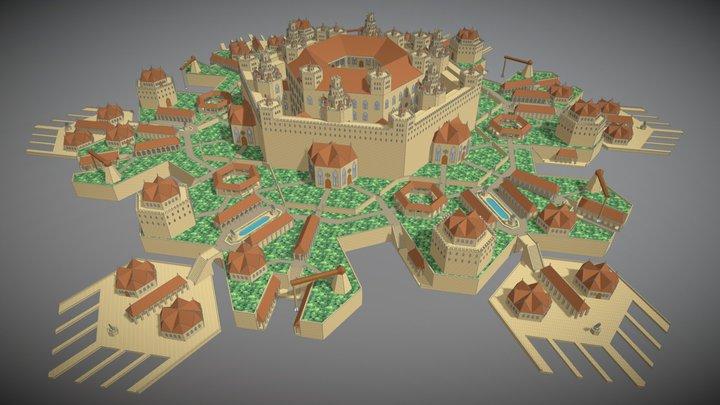 Hexity island castle 3D Model