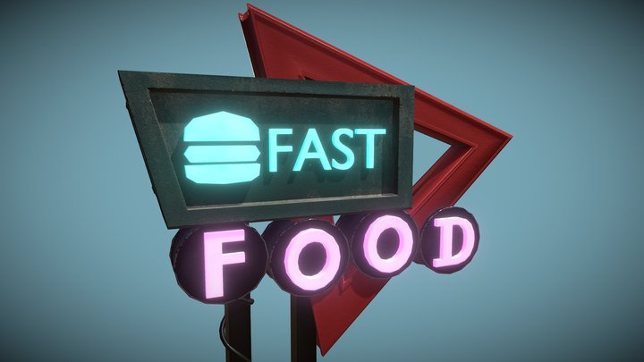 Fast Food Poster 3D Model
