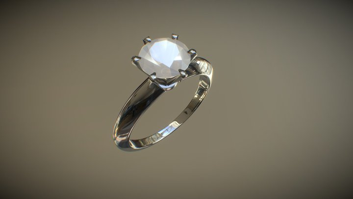 1 CT SOLITAIRE RING 3D Model