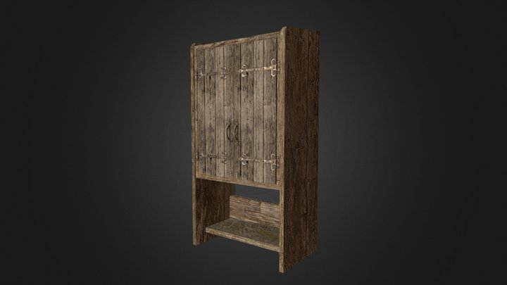 Old Wood Dresser - Low poly game ready model 3D Model