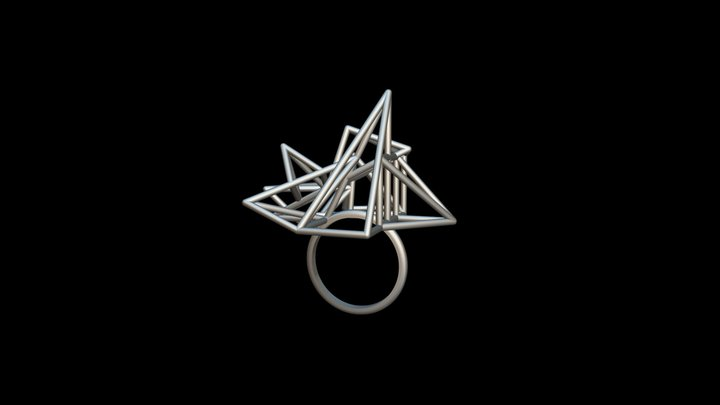 Pyramid Cage Ring 3D Model
