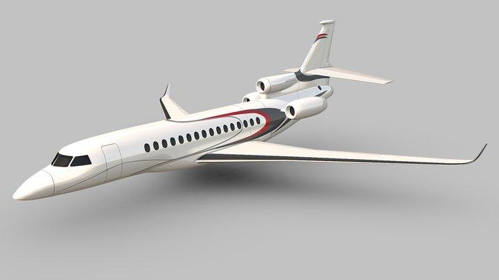 Lowpoly Dassault Falcon 8x luxury jet 3D Model