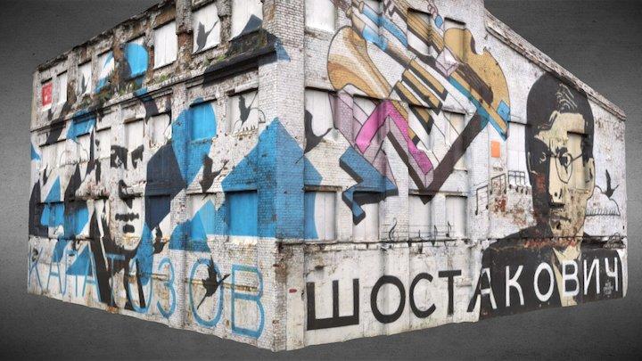 """Shostakovich & Kalatozov"" graffiti 3D Model"