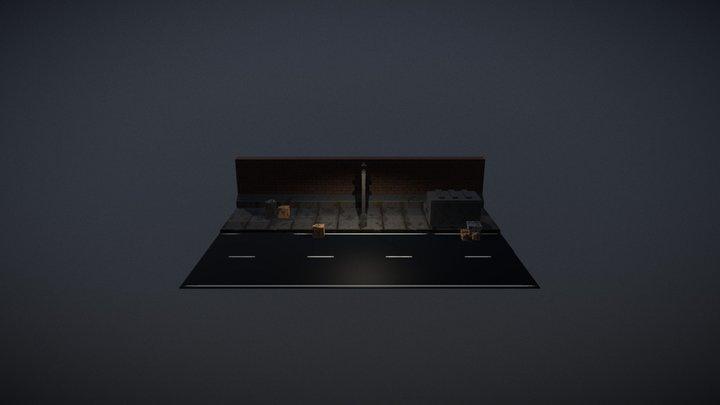 Voxel street at night scene 01 3D Model