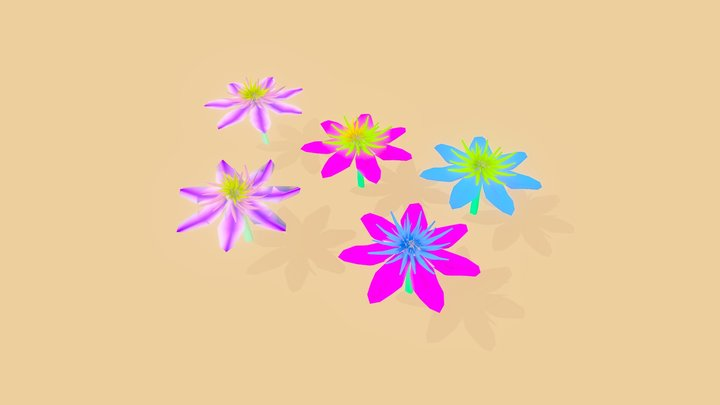 Low poly flower variations 3D Model