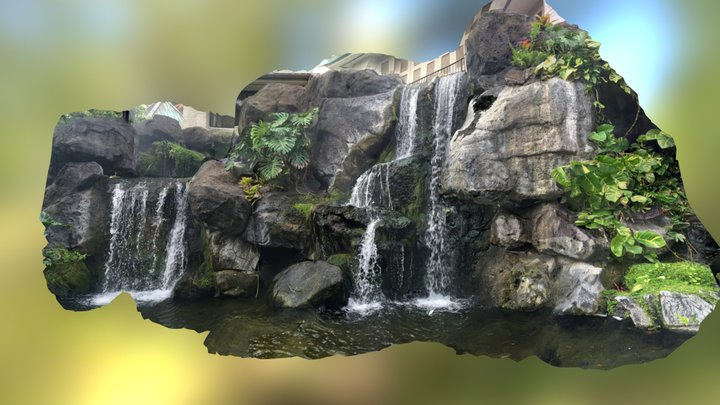Waterfall display at Hilton, Waikiki Hawaii 3D Model