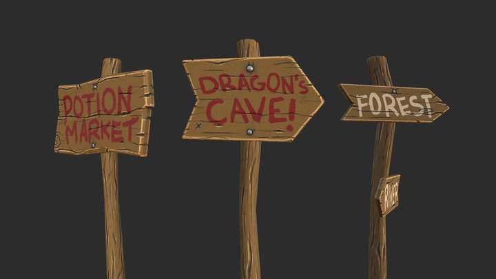 Stylized Wooden Signs Pack 3D Model