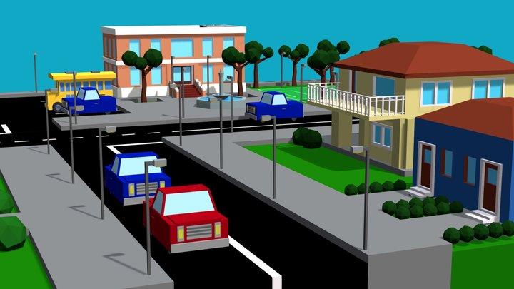 Low Poly City 3D Model