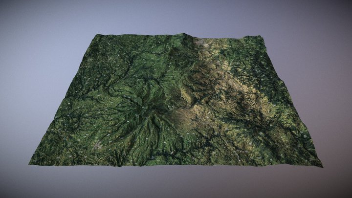 Massif Central, France (LowPoly +NormalMap) 3D Model