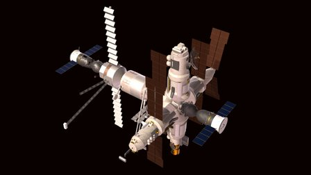Mir Station with Soyuz and Progress docked 3D Model