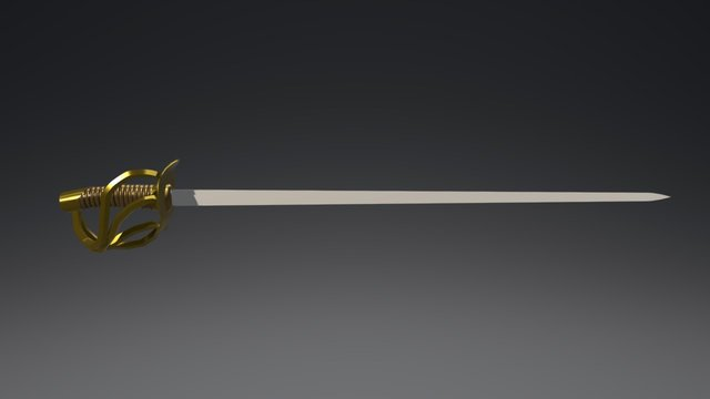 19th Century Cuirassier Sword 3D Model
