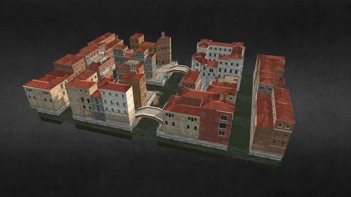 Canal Town 3D Model